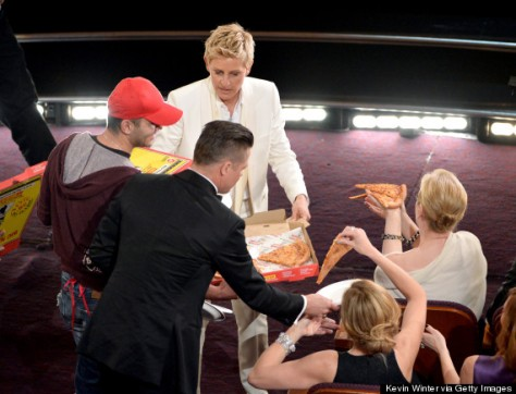 Ellen and pizza